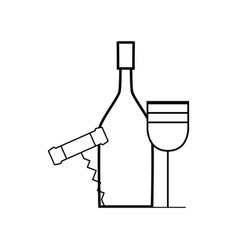 Figure wine bottle and glass with corkscrew vector