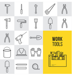 flat construction and tools outline icons vector image