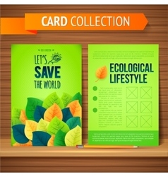 Flyer Brochure Design Template Leaves Natural and vector