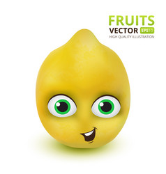 funny and cute lemon cartoon mascot character vector image