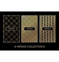 Golden vintage pattern on black background vector image