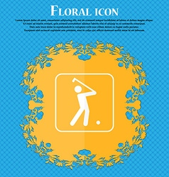 Golf icon Floral flat design on a blue abstract vector image
