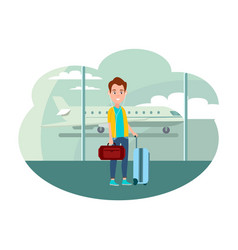 Guy with baggage at airport ready to leave country vector