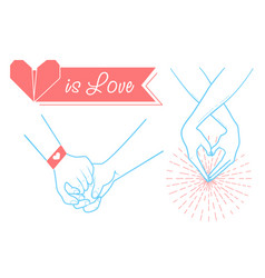 hands of people in love on valentines day vector image