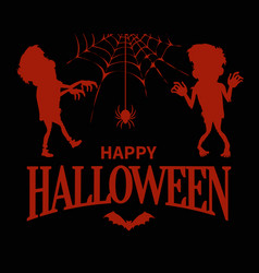 happy halloween silhouettes vector image