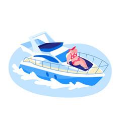 Happy woman lying on ship deck and take sun vector