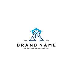 Home tech hand touch logo design vector
