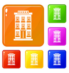 hotel building icons set color vector image