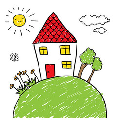 house on a hill doodle vector image