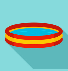 Kid round pool icon flat style vector
