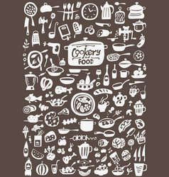 Kitchen tools food - doodles set vector