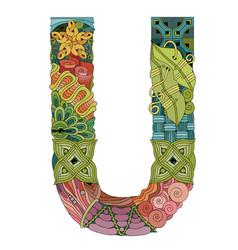 Letter u entangle decorative object vector
