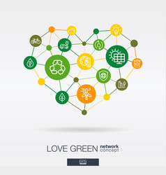 Love green environmental integrated thin line vector