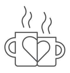 lovely mugs thin line icon romantic and love vector image