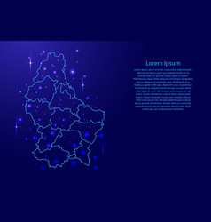 Map luxembourg from the contours network blue vector