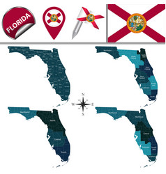 Map of florida with regions vector