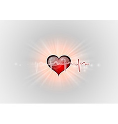 medical symbol ekg red heart center vector image