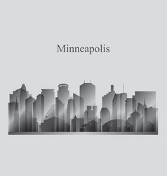 Minneapolis city skyline silhouette in grayscale vector