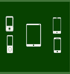 Mobile phones white on a green background vector