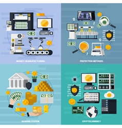 Money Manufacturing Concept Icons Set vector