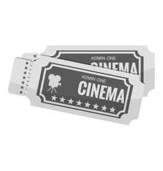 Movie ticket icon gray monochrome style vector image