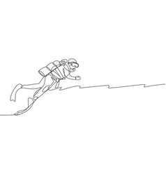one single line drawing young energetic man do vector image