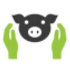Pig care hands halftone icon vector