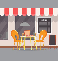 pizzeria outdoor terrasse menu board with meal vector image