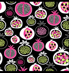 pomegranate fruit halves seamless pattern pink vector image