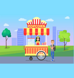 Popcorn stall and cityscape vector