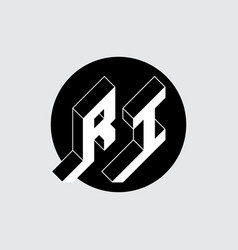 R and i - monogram or logotype isometric 3d font vector