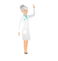 Senior doctor with open mouth pointing finger up vector