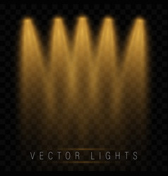 set golden spotlights vector image