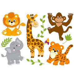 Set of jungle animals vector