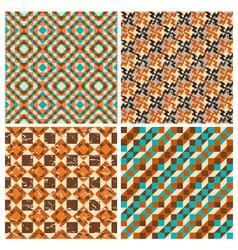 set of seamless geometric retro patterns vector image