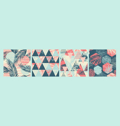 set tropical and sea seamless patterns vector image