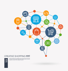 shopping ecommerce market retail and online vector image