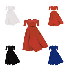 shoulderless dress in red white blue and black vector image