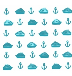 Simple pattern with anchors and ships vector