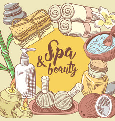 spa salon wellness beauty hand drawn design vector image