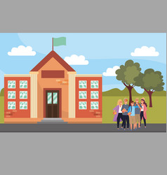 Student using smartphone on campus background vector