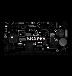 stylish geometric shapes neo memphis design vector image