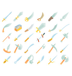 sword icon set cartoon style vector image