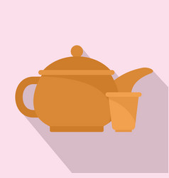 Taiwan tea pot icon flat style vector