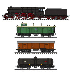 the vintage freight steam train vector image