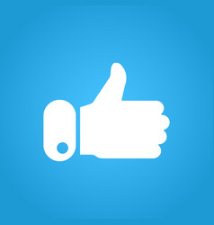 thumbs up icon on blue background like symbol vector image