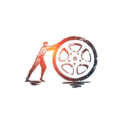 tire wheel auto transport repair concept hand vector image