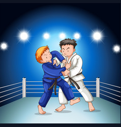 Two boys fighting judo wrestling on sport vector