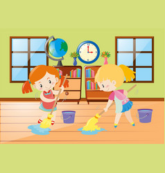 two girls cleaning room vector image