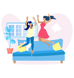 Two pretty women having fun at home jump on sofa vector